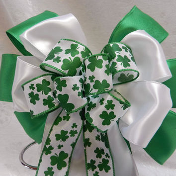 St. Patricks Day Bow, Green, White satin with Shamrock center ribbon .