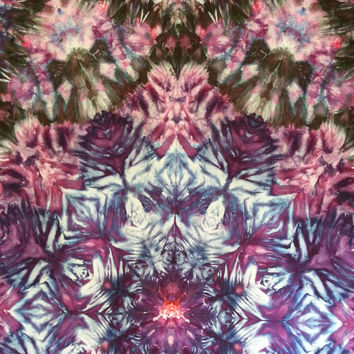 Giant mandala trippy tie dye tapestry in purple, blue, pink and black