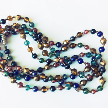 Vintage Multicolor Beaded Necklace Long Strand Glass Bead Necklace 60's
