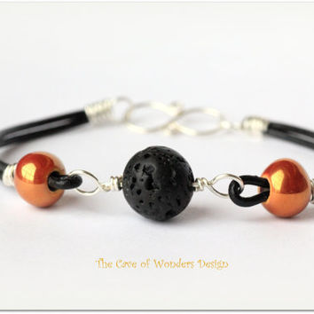 Bracelet leather sterling silver 925 wire wrapped lava rock Greek Ceramic jewelry men women unisex autumn fall