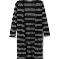 Black Stripe Pocket Detail Open Front Long Sleeve Cardigan