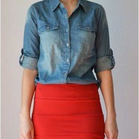 Trendy Clothing, Fashion Shoes, Women Accessories | Hollie Chambray Shirt  | LoveShoppingMiami.com