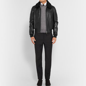 Tom Ford - Shearling-Trimmed Leather Bomber Jacket | MR PORTER