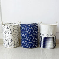 Anchors Pattern Foldable Washing Clothes Laundry Baskets Toys Storage bag Clothing Organizer Cotton Linen 35x45cm #87109