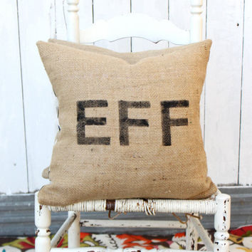 EFF Burlap & Chevron 18 Hand Painted Pillow by MySwallowsNest
