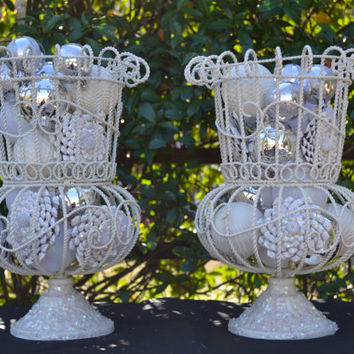 Christmas Holiday Decoration Pedestal Urn Set of Two Cream and Antique White Shabby-RusticChristmas and Charming Christmas Decor.