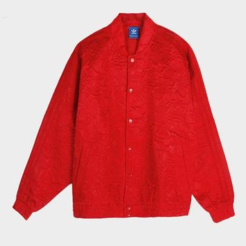 Adidas Red Embossed Baseball Jacket