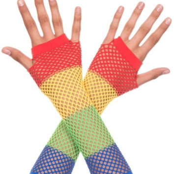 Rainbow Fishnet Fingerless Gloves