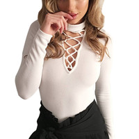 Sexy Lace Up Bodysuit Women Autumn Halter Long Sleeve Bodycon Jumpsuit Rompers Casual Feminina Winter Knitted Sweater Tops