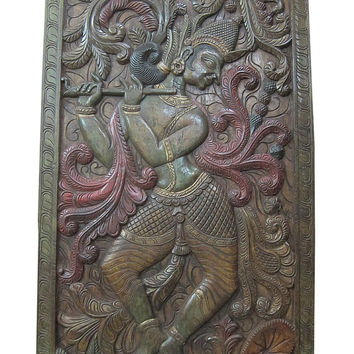 "Wall Panels Indian Carving Dancing Krishna Vastu Decor Door Panel 72"" X 36"""