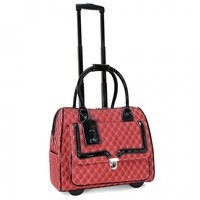 """Cabrelli 15.6"""" Women's Rolling Laptop Bag - Quilted Rollerbrief - Laptop Bags"""