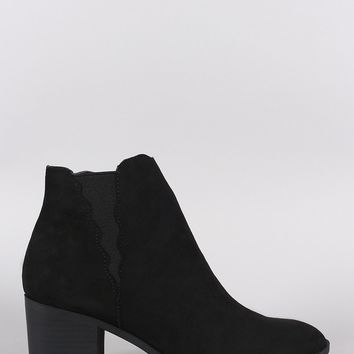 Qupid Suede Almond Toe Scallop Elastic Gore Chunky Heeled Booties