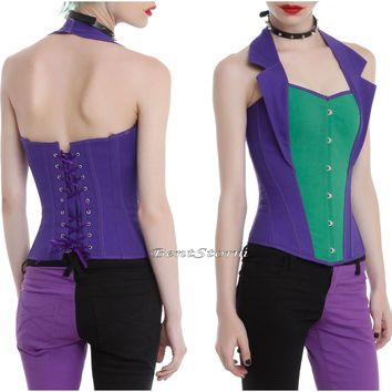 Licensed cool Suicide Squad The Joker Corset Bustier Vest Top w/ Collar Costume Cosplay L/XL