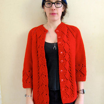 Vintage Red Cardigan Sweater Handmade THICK KNIT Sweater Coat Chunky Cardigan Hand Woven Bulky 50s Granny Sweater Womens Medium Large