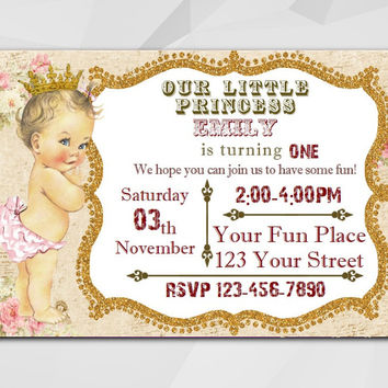 Vintage Girl Birthday invitation, Editable PDF, Instant Download. Princess Baby Doll.