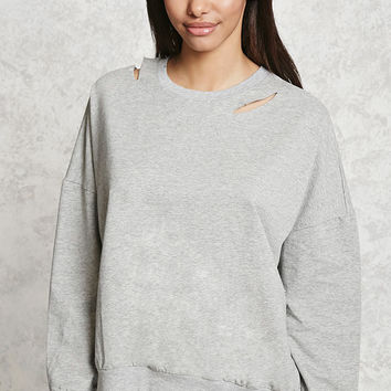 Distressed Cutout Sweatshirt