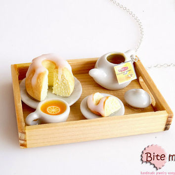 Miniature Food Tea and Cake Tray Necklace, Dollhouse Tray, Mini Food Jewelry, Kawaii Jewelry, Cake Jewelry, Foodie Gift