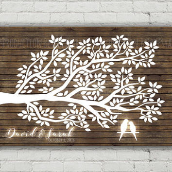 Printable Rustic Wedding Guest Book, Tree Guest Book Print, Birthday Party Wedding Baby Shower, Rustic Wood Guest Book Alternative Poster