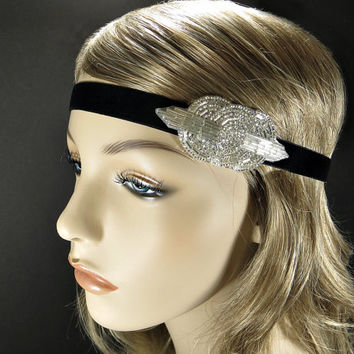 Silver Art Deco Beaded Headband, 1920s Great Gatsby Headpiece, Daisy Buchanan Flapper Headband, Bridal Hair Accessories, Costume Party