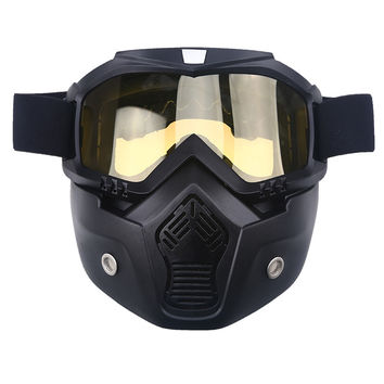 Motorcycle Helmet Motocross Goggles Detachable Mask Goggles & Mouth Filter
