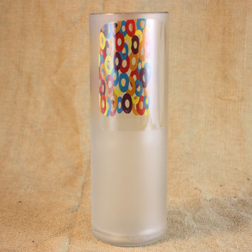 Drinking Glass Tumbler Upcycled From Three Olives Loopy Vodka Bottle, ONE Three Olives Drinking Glass, Recycled Liquor Bottle