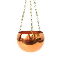 Vintage Hanging Copper planter Mod home decor Coppercraft Hanging Basket Small Succulent Planter Home Decor