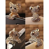 New Crystal Dog Puppy Bear 3.5mm Antidust Anti Dust ear cap for iphone 5, HTC, Samsung: Cell Phones & Accessories
