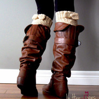 Crochet Boot Cuff, Faux Sock, Boot Topper, Half Leg Warmer- Chunky Cuff with Bow