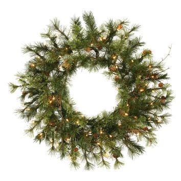 "24"" Pre-Lit Mixed Country Pine Artificial Christmas Wreath - Clear Lights"