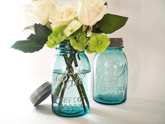 blue mason jars turquoise wedding decor from