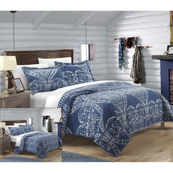 Revenna Napoli 7 Piece Reversible Jacquard Quilt Set King & Queen Navy