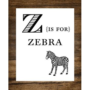 "Z is for Zebra Kids Playroom 8"" x 10"" Wall Print"