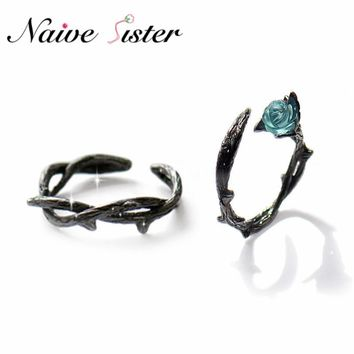 Genuine 925 Sterling Silver Adjustable Ring Fashion Black Rose Flower Couple Rings For Women Men Crystal Wedding Jewelry Anel
