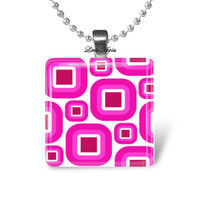 Retro necklace, pink white squares, abstract design, glass tile, scrabble, mod pattern, geometric art, for her