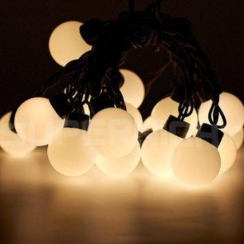 SUPERNIGHT® Waterproof 20 LED Globe String Globe Lights with 16.4ft / 5m Linkable Warm White Ball String LED String Light Fairy Light / Decoration Fairy LED String Lights Fairy Lights Christmas Lights Party Lights for Festival, Xmas, Holiday, Wedding, Part