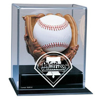 Philadelphia Phillies MLB Soft Brown Glove Baseball Display