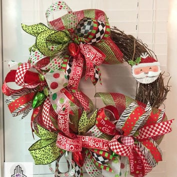 ON SALE Merry Christmas Santa Ho Ho Ho Deco Mesh Ribbon Grapevine Wreath