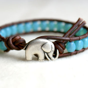 Caribbean Blue good luck elephant bracelet, bohemian beaded leather wrap, 1x Wrap bracelet, Chan Luu Style, small wrist