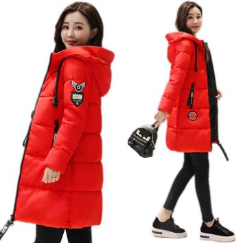 Winter Jacket Women Plus Size Vintage Jackets And Coats Female Cotton Padded Long Parkas Mujer Korean Hooded Coat NW491