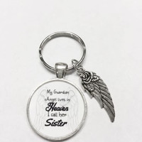 My Guardian Angel Lives In Heaven I Call Her Sister, In Memory, Wing Keychain