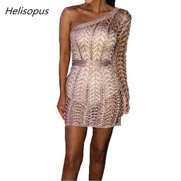 Helisopus One Shoulder Sexy Knitted Dress Women Hollow Out Irregular Neck Summer Mini Dresses Ladies Nightclub Bodycon Dress
