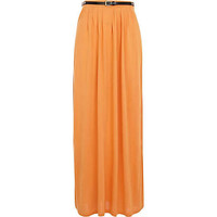 Light orange jersey belted maxi skirt - maxi skirts - skirts - women