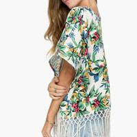 Green Fringe Floral Chiffon Blouse