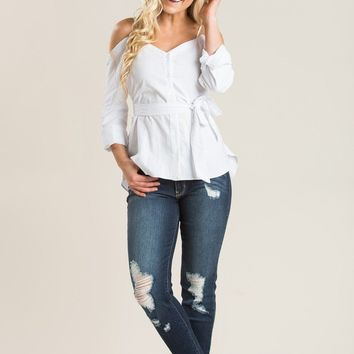 Mara White Cold Shoulder Top
