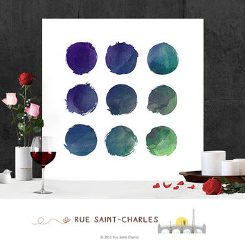 Circles Printable Art Watercolor Printables Modernist Wall Art Minimalist Art Print Instant download art watercolor art prints digital art