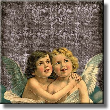 Two Angels Picture on Stretched Canvas, Wall Art Décor, Ready to Hang