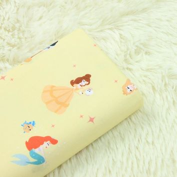 half meter high density cotton poplin fabric with cartoon mermaid print, handmade DIY garment dress children's cloth A684