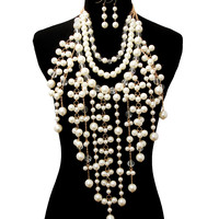 BIG FAUX PEARL BEADED GOLD Statement CHUNKY Cream Necklace & Earrings Set