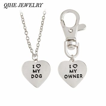 "QIHE JEWELRY 2pcs/set ""I love my dog,I love my owner"" Heart Charm Necklace And Collar Dog-Human Jewelry Dog Lover Gifts"