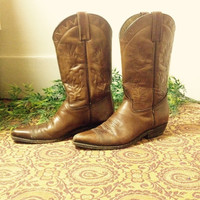 Vintage 1970's beautiful cognac brown leather cactus embroidered mexican cowboy boots. Ladies size 7.5-8!